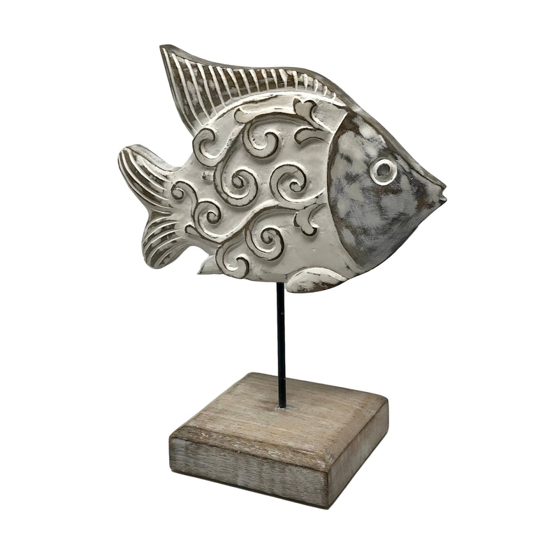 """Fish Tales"" Beau Butterfish Hand-Carved Wood Figure on Stan"