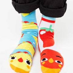 Taco & Hot Sauce | Kids & Adult Socks | Mismatched Crazy Fun Socks