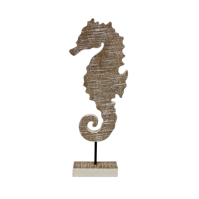 Wood Carved Seahorse on Stand