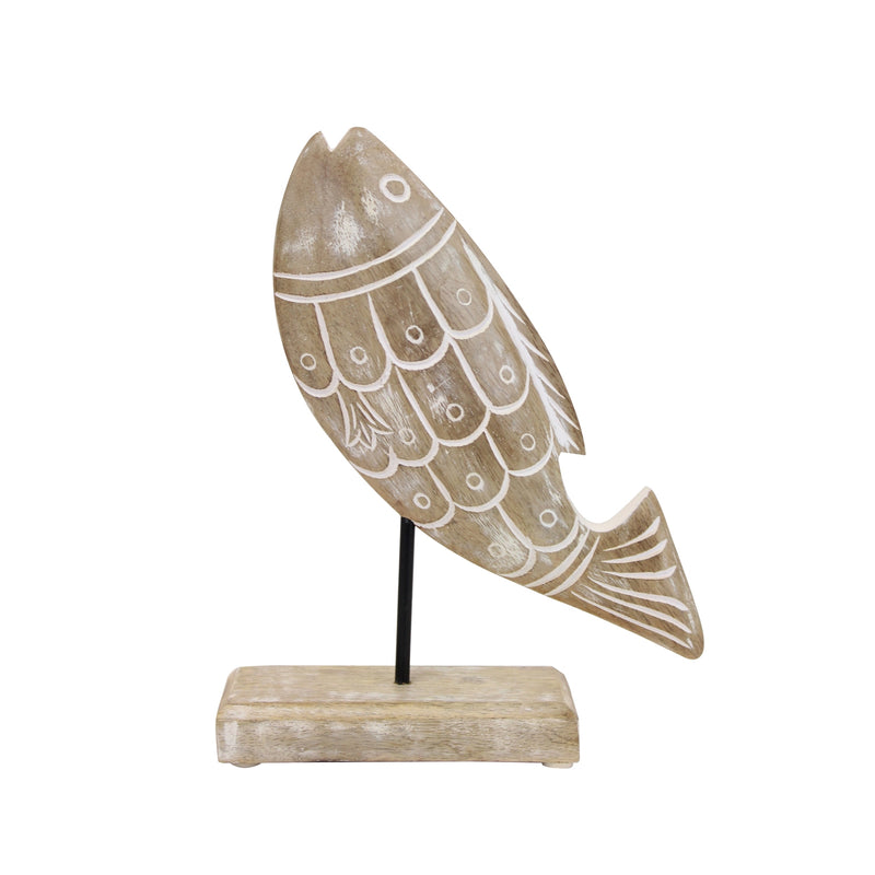 Wood Carved Fish on Stand
