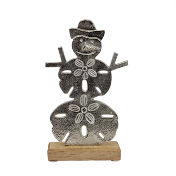 Sand Dollar Snowman on a Wood Base