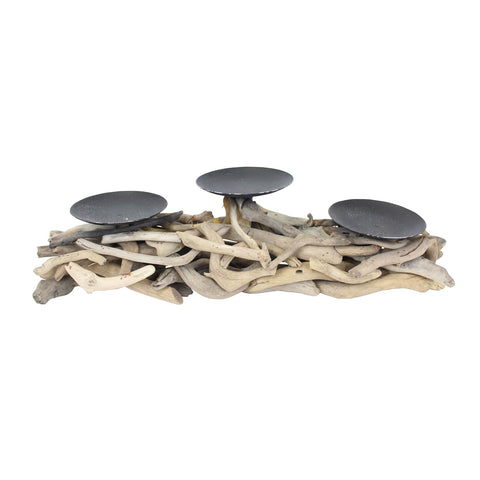 Driftwood Triple Candle Holder