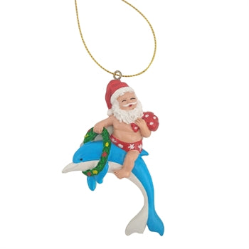 Santa Riding a Dolphin Christmas Tree Ornament