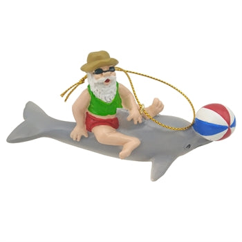 Santa Riding a Dolphin with Beach Ball Christmas Tree Ornament