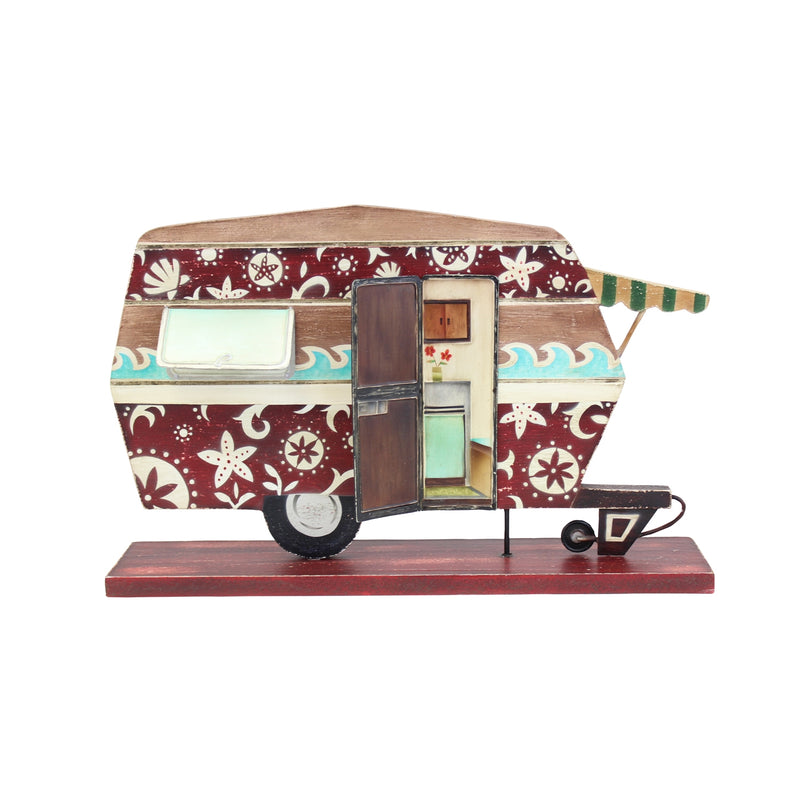 Wood Holiday Camper Plaque