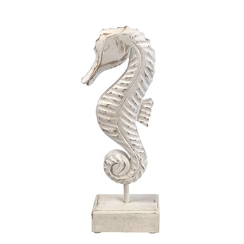 Whitewashed Wood Seahorse on Stand - Large & Small