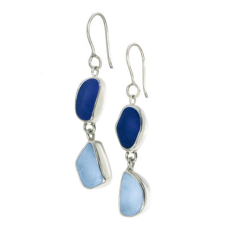Sea Glass Double Drop Earrings, Blue