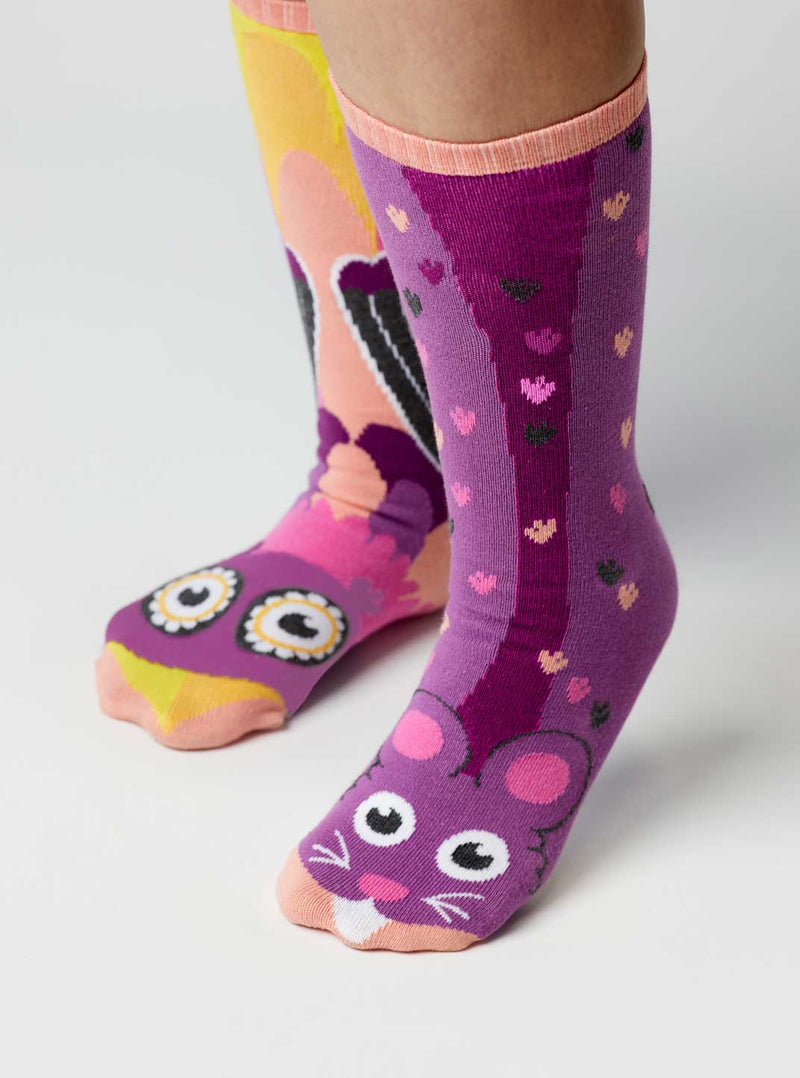 Owl & Mouse | Kids & Adult Socks | Mismatched Fun Socks