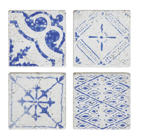 Royal Blue Cement Tile Coasters