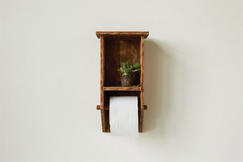 Wood Wall Shelf Toilet Paper Holder