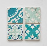Teal Cement Tile Coasters
