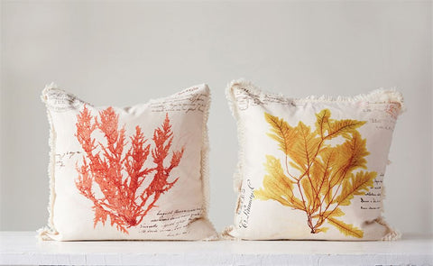 Seaweed Printed Cotton Pillow