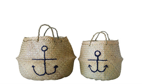 Natural Seagrass Collapsible Basket