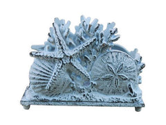 Dark Blue Cast Iron Seashell Napkin Holder