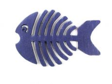 Dark Blue Cast Iron Fish Bone Trivet