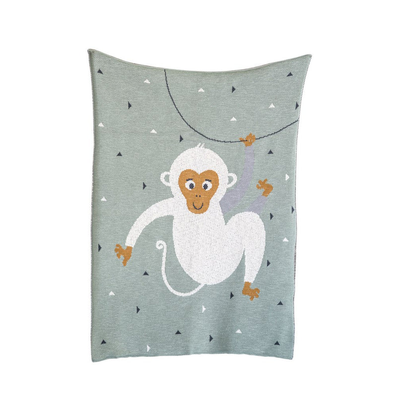 Cotton Knit Baby Blanket with Monkey - Mint Green