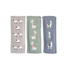 Cotton Knit Burp Cloth with Animals - Llama, Giraffe, Sheep
