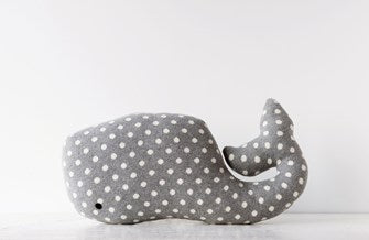 Cotton Knit Whale Pillow, Grey with White Dots