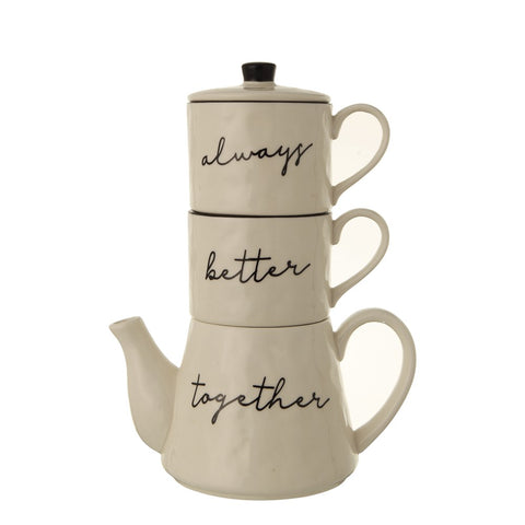 "Stackable Teapot & (2) 8 oz. Mugs ""Always Better Together"""