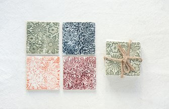 Ceramic Coaster with Embossed Floral Pattern - Set of 4