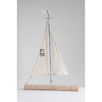 Mango Wood & Canvas Sailboat
