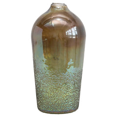 Glass Vase, Seeded Green Iridescent Finish