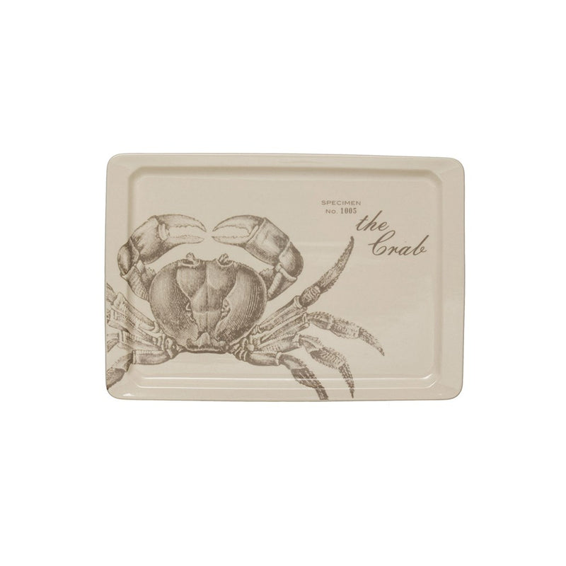 Stoneware Platter with Crab