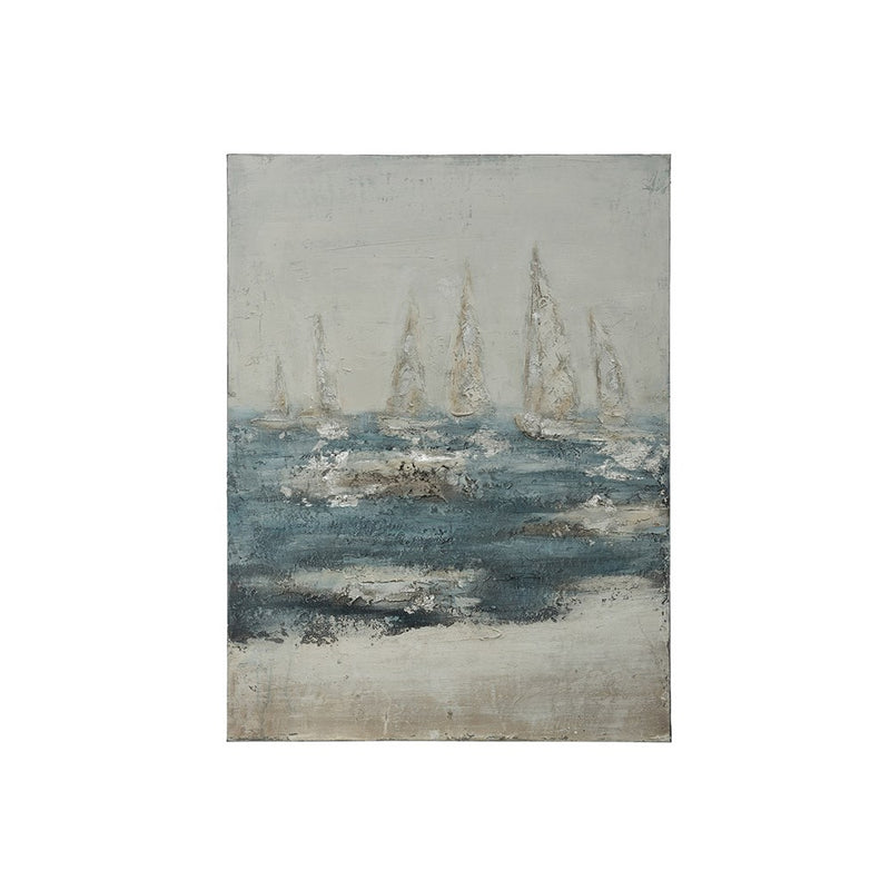 Hand-Painted Canvas Wall Decor w/ Ocean & Ships