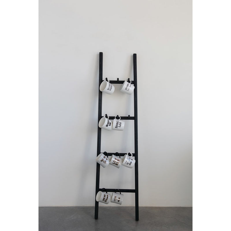 Decorative Wood Ladder with 12 Pegs, Black