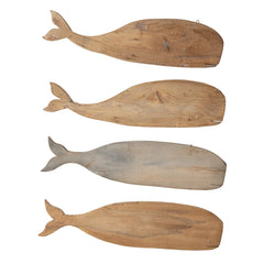 Reclaimed Wood Whale Wall Hanging, 2 Styles