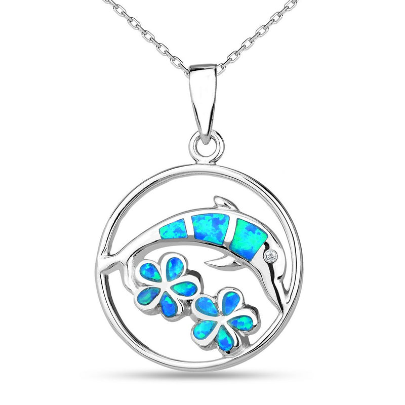 Sterling Silver Blue Inlay Opal Dolphin and Flowers Necklace