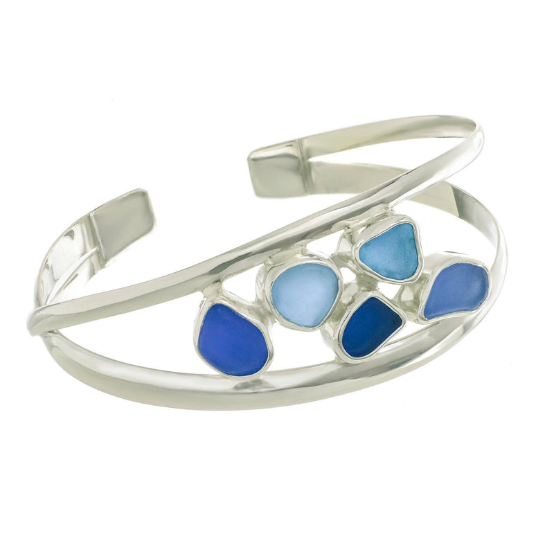 Sea Glass Double Strand Cuff Bracelet