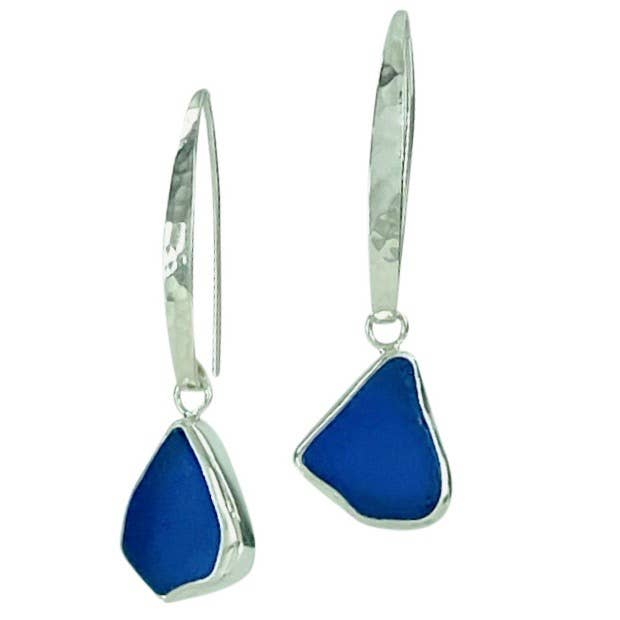 Sea Glass Slender Curve Hook Earrings, Blue