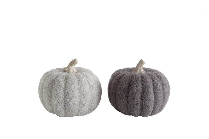 Small Felted Pumpkin in Grey Tones