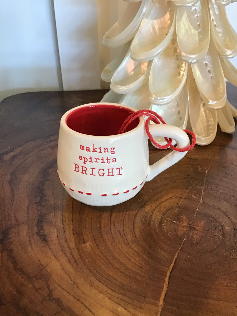 Holiday Mini Coffee Pod Mug - Cream w/ Red Stitching