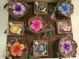 Coconut Shell Plumeria Flower Candle