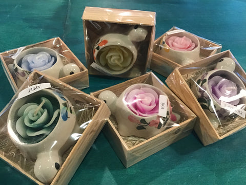 Scented Rose Shaped Candles in Ceramic Turtle