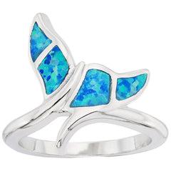 Sterling Silver Blue Inlay Opal Whale Tail Ring