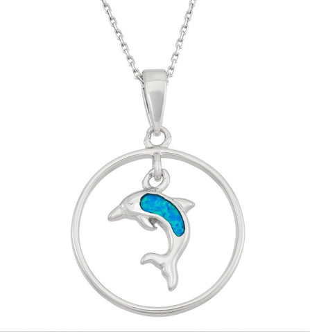 Sterling Silver Open Circle W/Dangling Opal Dolphin Pendant