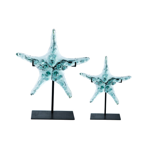 Glass Starfish with Metal Stand