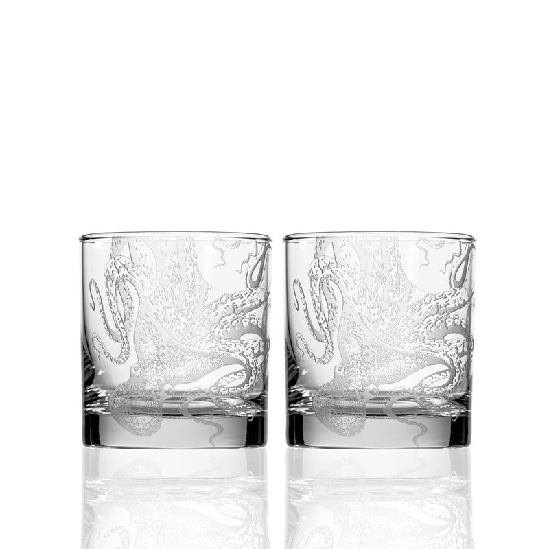 Octopus Etched Glassware