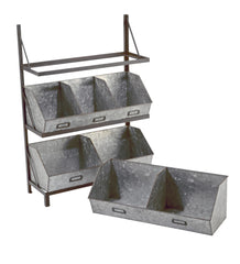 Industrial Metal Bin Display Organizer