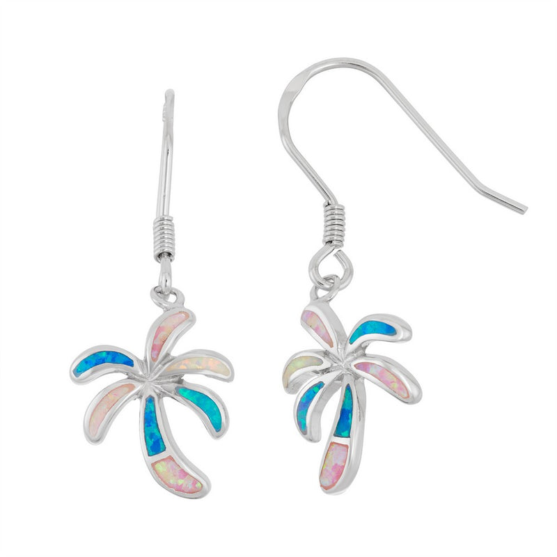 Sterling Silver White, Pink, and Blue Inlay Opal Palm Tree Earrings