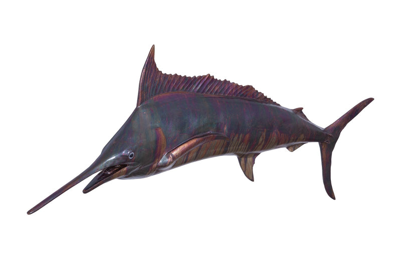 Blue Marlin Fish Wall Sculpture, Copper Patina Finish