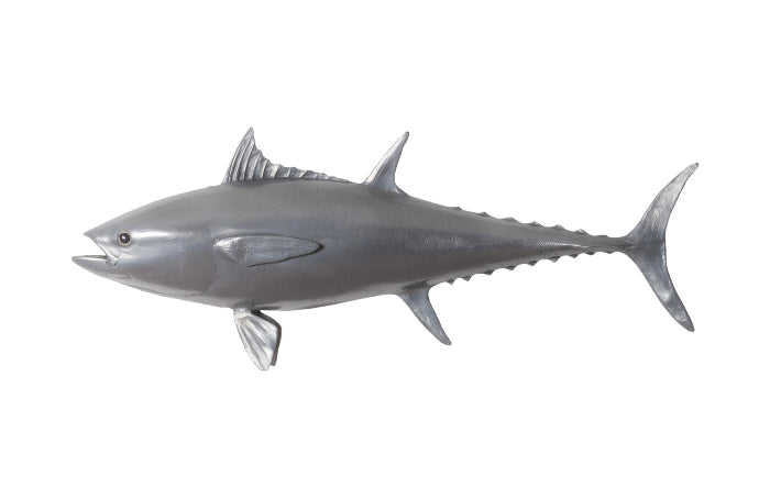 Bluefin Tuna Fish Wall Sculpture Resin, Polished Aluminum Finish