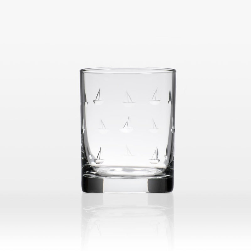 Etched Double Old Fashioned Glass