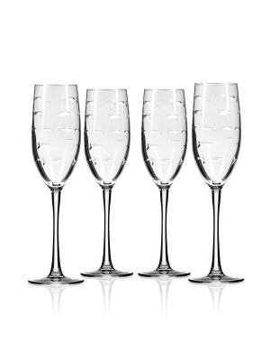 Etched Champagne Flute Glass