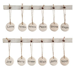 Stoneware Holiday Tag Ornament