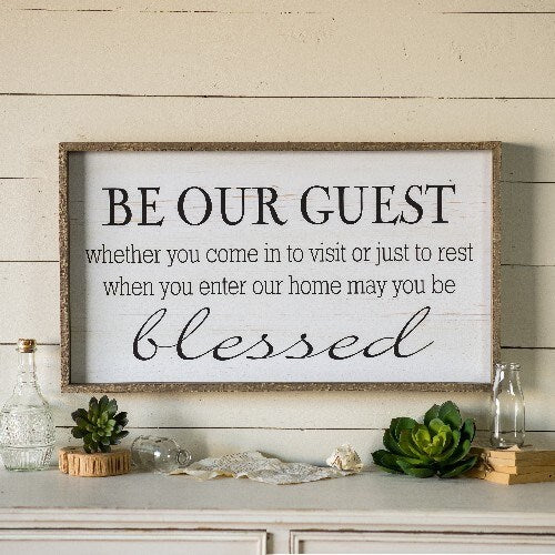"Wooden ""Be our Guest"" Sign"