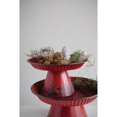 Decorative Metal Pedestals -Distressed Red Finish